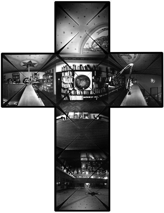 Fotó: Telek Balázs: A Magyar Fotográfiai Múzeum belső tere, Kecskemét, 2000. – Camera obscura keresztpanoráma, horizontálisan és vertikálisan is 360 fokos látószöggel. © Telek Balázs