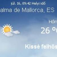 Mallorca aktuális időjárás előrejelzés, 2010. július 16.