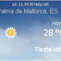 Mallorca aktuális időjárás előrejelzés, 2010. július 21.