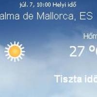 Mallorca aktuális időjárás előrejelzés, 2010. július 7.