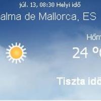 Mallorca aktuális időjárás előrejelzés, 2010. július 13.