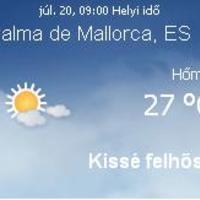 Mallorca aktuális időjárás előrejelzés, 2010. július 20.