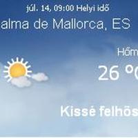 Mallorca aktuális időjárás előrejelzés, 2010. július 14.