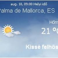 Mallorca napi aktuális időjárás előrejelzés, 2010. augusztus 18.
