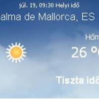 Mallorca aktuális időjárás előrejelzés, 2010. július 19.