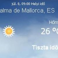 Mallorca aktuális időjárás előrejelzés, 2010. július 8.