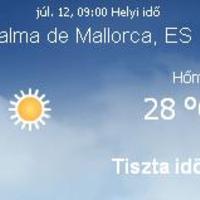 Mallorca aktuális időjárás előrejelzés, 2010. július 12.