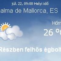 Mallorca aktuális időjárás előrejelzés, 2010. július 22.