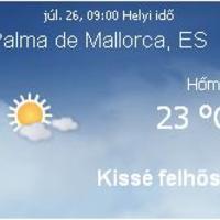 Mallorca aktuális időjárás előrejelzés, 2010. július 26.