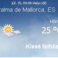 Mallorca aktuális időjárás előrejelzés, 2010. július 15.