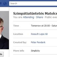 Szimpátiatüntetés, Matolcsy és a Facebook