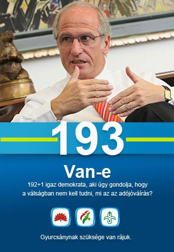 Surányi György - Van-e 192+1 igaz demokrata, aki úgy gondolja, hogy a válságban nem kell tudni, mi az az adójóváírás? Gyurcsánynak szüksége van rájuk.