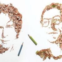 Ceruzaforgácsból összekapirgált portrék