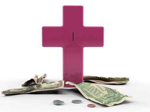 Jesus saved: a kereszt mint rózsaszín malacpersely
