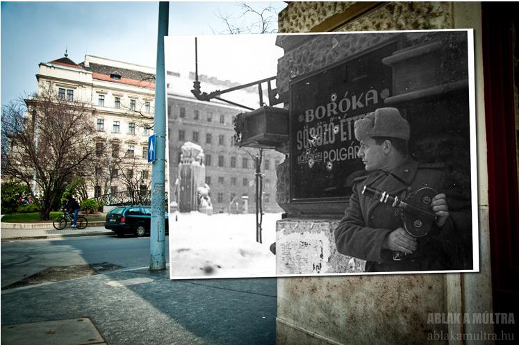Budapest V. Vértanúk tere a Nádor utcából nézve szemben a Földművelésügyi Minisztérium épülete középen a Nemzeti vértanúk emlékműve 1945.png