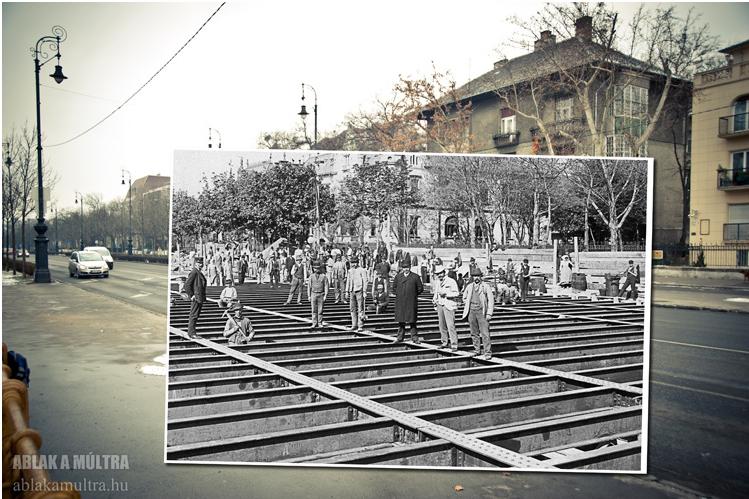 Budapest VI. Andrássy út a millenniumi földalatti Dózsa György (Aréna) úti állomásának építése 1895 fortepan.png