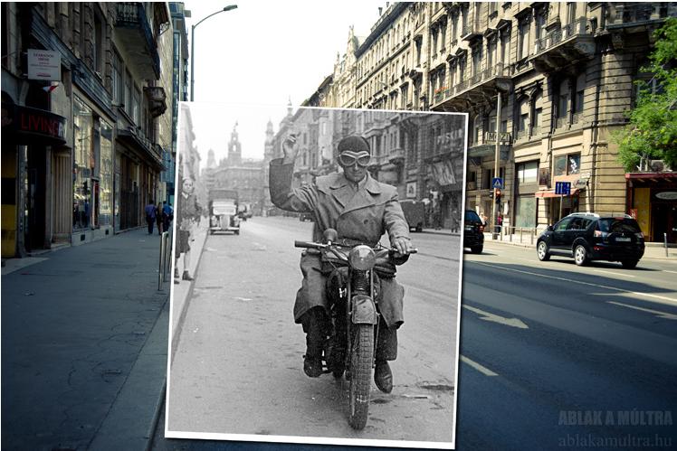 Budapest, V. Kossuth Lajos utca, a Magyar utcától a Ferenciek tere (Felszabadulás tér) felé nézve 1952- 2013.png
