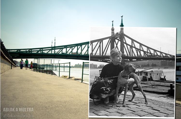 Budapest, V. Pesti alsó rakpart, háttérben a Szabadság híd, Házy Erzsébet operaénekes.png