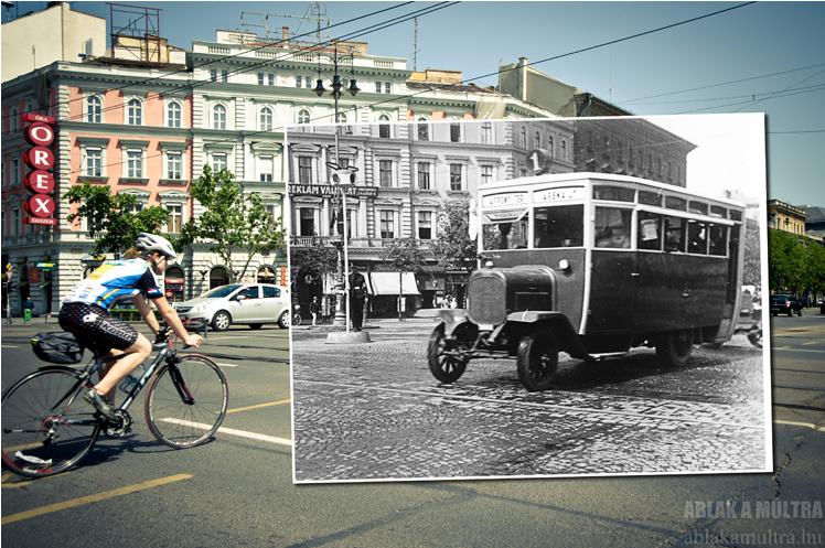Budapest, VI. Oktogon, a busz a Városliget felől érkezik 1927 - 2013.png