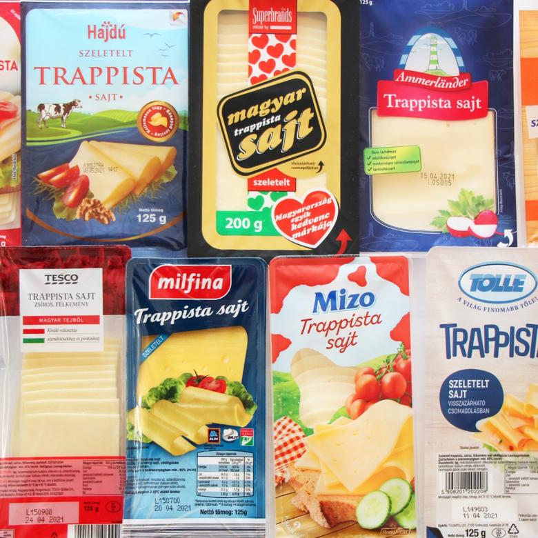 Nagy szeletelt trappista sajt teszt