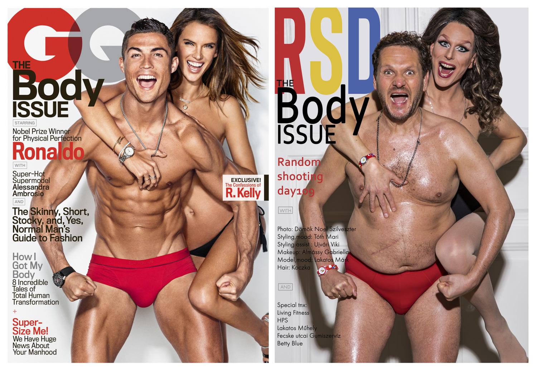 Cristiano Ronaldo és Alessandra Ambrosio szupermodell – Fotó: Ben Watts / A partnerem a képen: Betty Blue drag queen