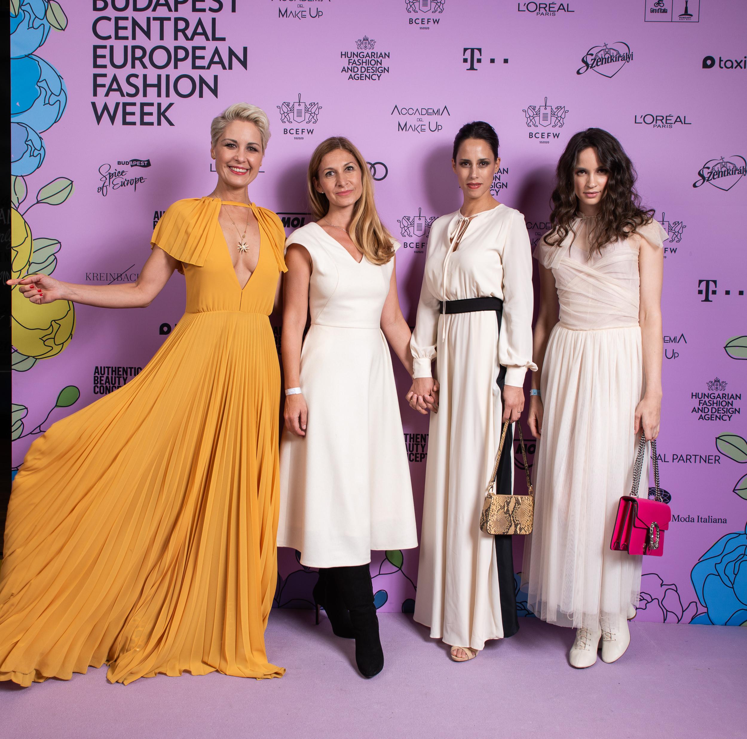 Orosz Barbi, Bódis Boglárka, az Elysian tervezője, Trokán Anna és Törőcsik Franciska Elysianban