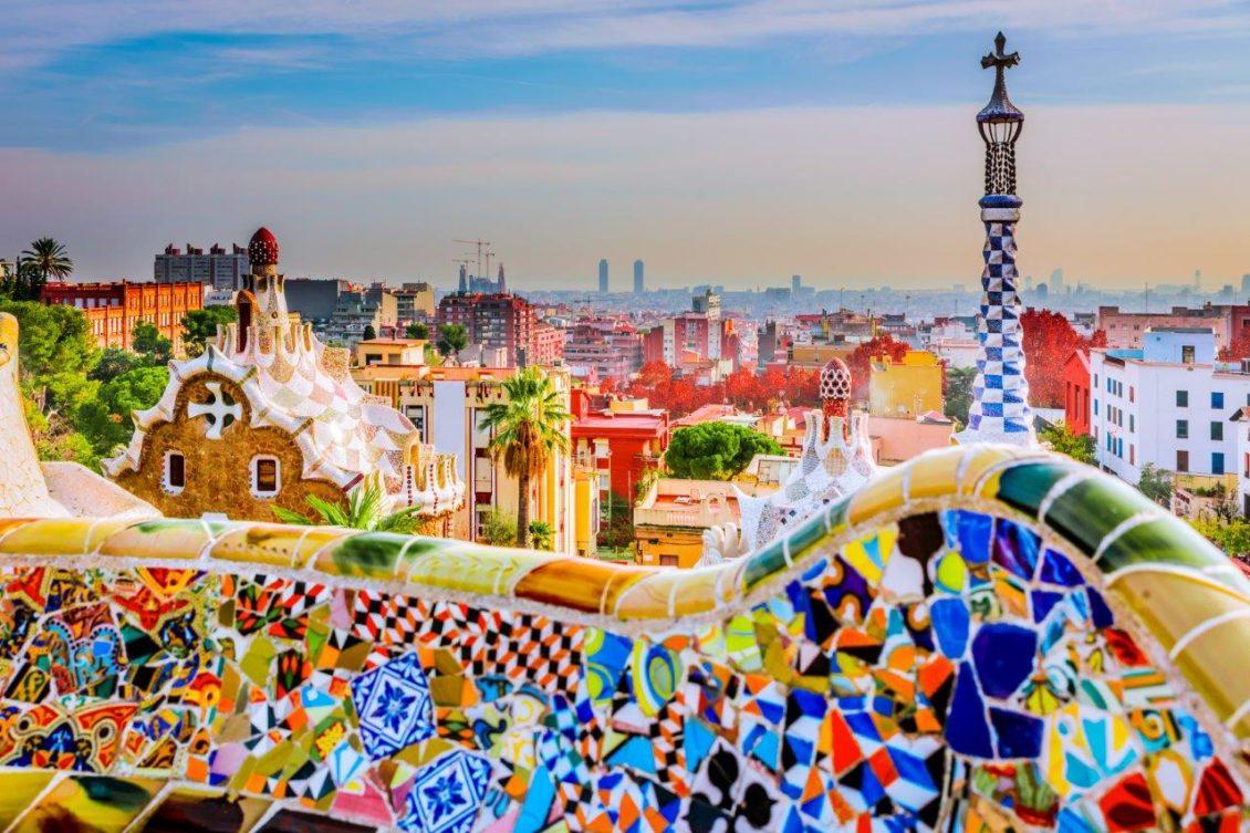 A Güell Park Barcelonában, Spanyolországban