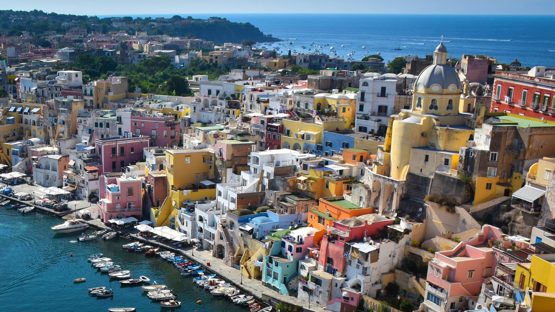 Corricella kikötője,Procida, Olaszország