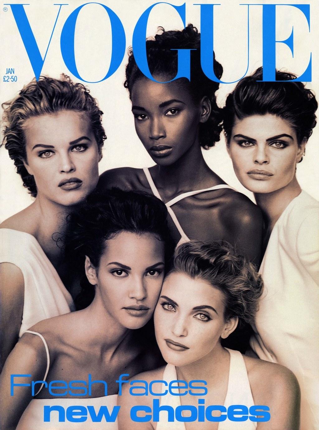Eva Herzigová, Beverly Peele, Petra Lindblad, Claudia Mason és Nadja Auermann mind Armaniban, az 1992-es VOGUE címlapon