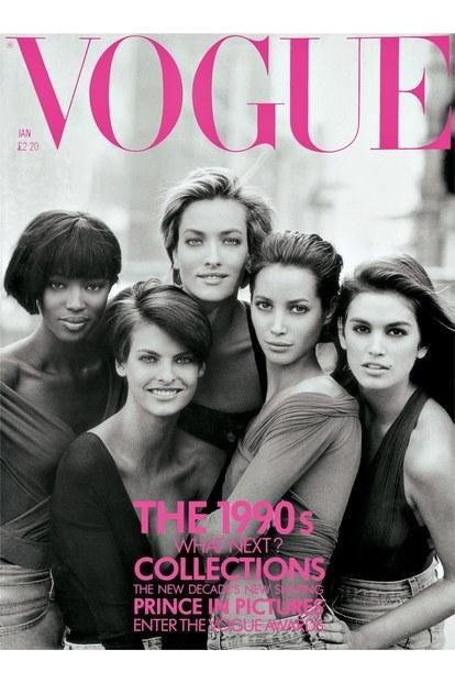 Naomi, Linda, Tatjana, Christy és Cindy, George Michael Freedom c. klipjéből az 1990. januári brit VOGUE borítóján - Fotó: Peter Lindbergh