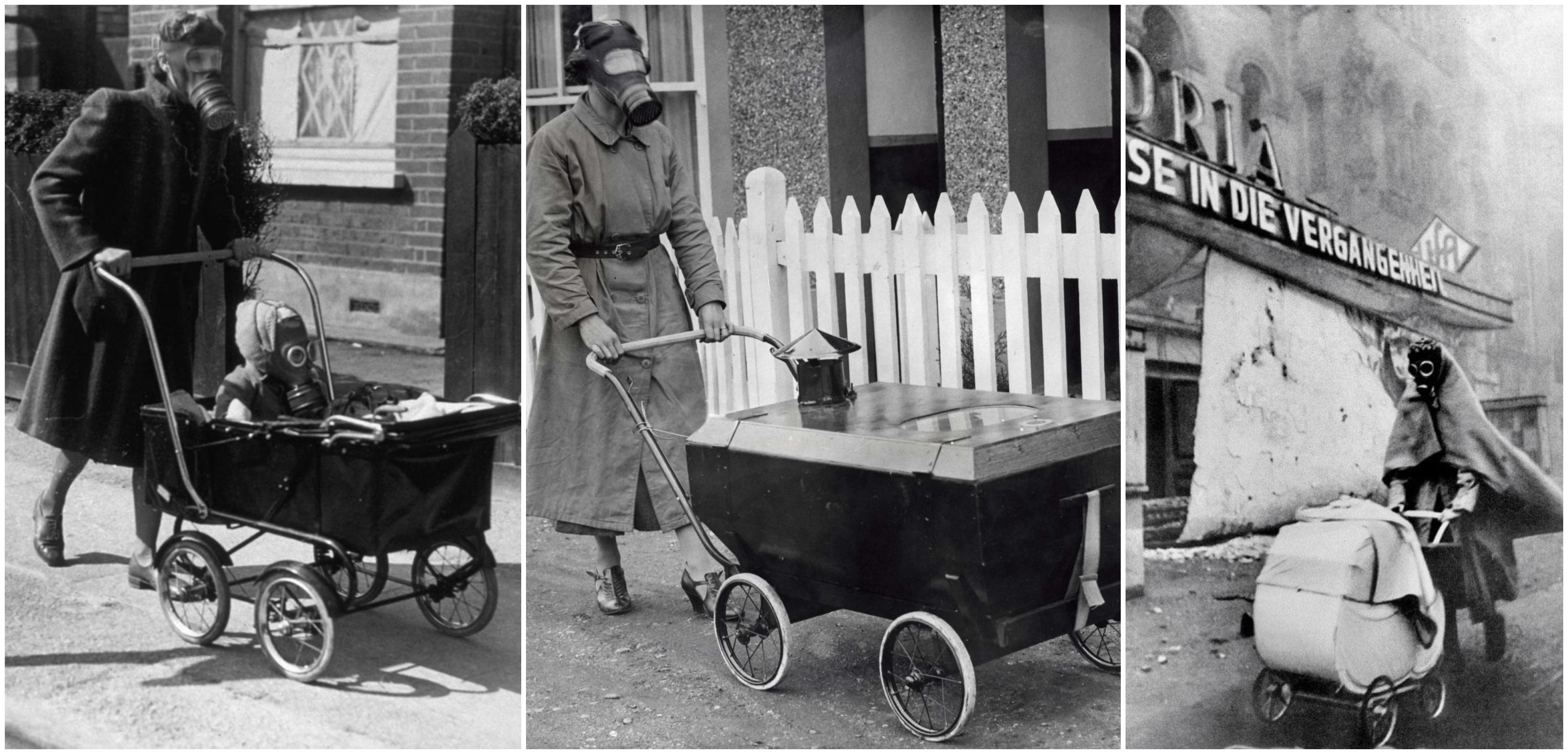 A II. világháború asszonyai, akik egészen leleményes módon sétáltatták a gyerekeket - bár elég ijesztőnek tűnik, a babakocsiban volt szellőztetés, ami biztosította a tisztított levegőt.
