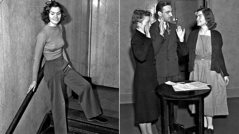 Helen Hulick, aki 5 napi elzárást kapott 1938-ban, mert nadrágban ment tanúskodni a bíróságra.