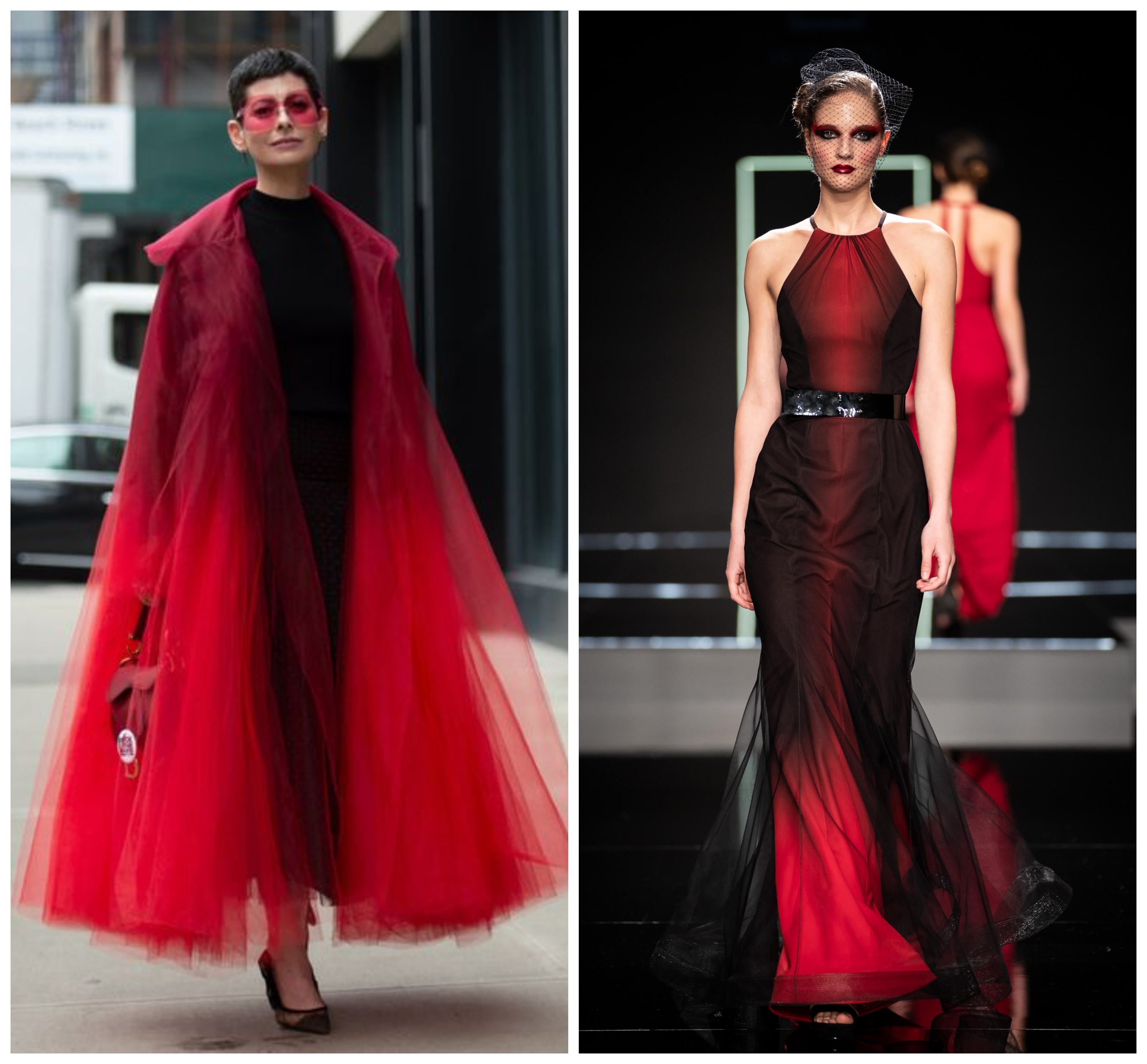 Oscar de la Renta csodás kabátját több blogger is felvonultatta a divatheteken, de nekünk is van csodás piros-fekete színátmenetes darabunk, méghozzá Merő Péter tervezőtől.