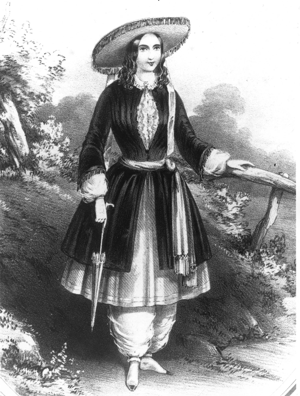 A Bloomer ruházatot, ami egy rövidebb szoknyából és bő nadrágból állt, nőjogi aktivisták alakították ki. Mivel mindenki cikizte őket, hamar lemondtak a dologról sajnos. - Amelia Bloomer 1851-ben, Getty Images