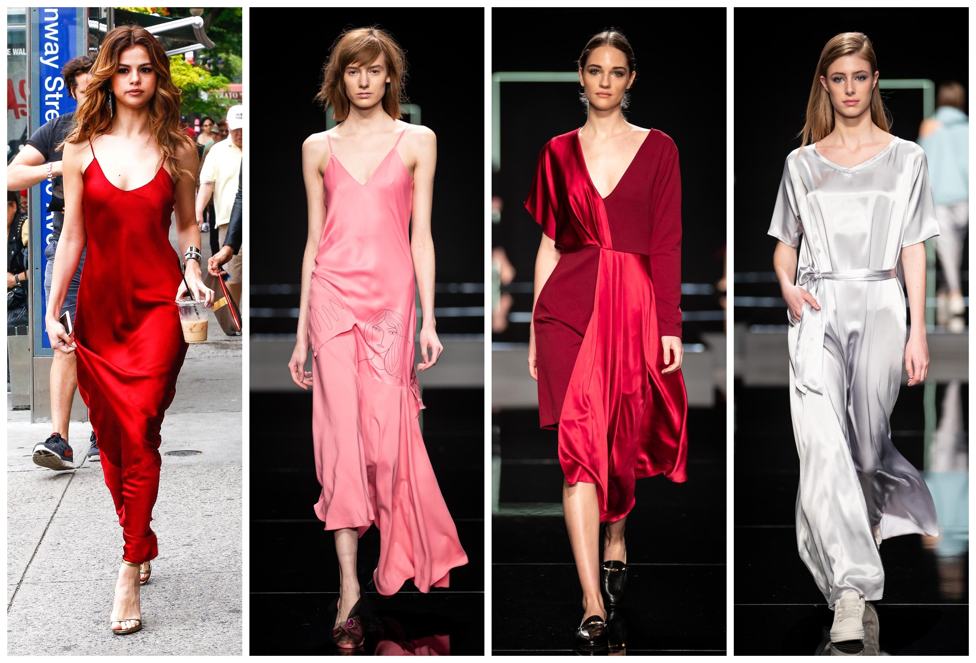 Nem csak Selena Gomez tudja, hogy egy selyemhatású slip dress mennyire szexi tud lenni - a jó hír, hogy a következő szezonban is divatos lesz! Jó példa erre a Je suis belle, a Celeni vagy a CAKO modellje is a kifutón.