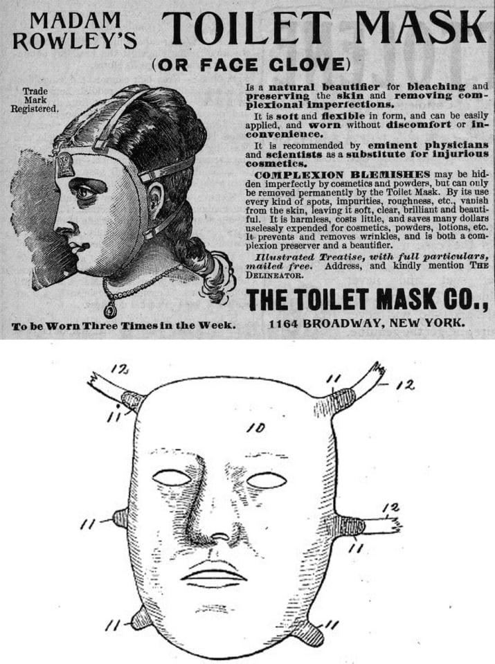 Kinek kell koreai fátyolmaszk, mikor itt a vintage toalett maszk vagy más néven arckesztyű? Mindkét elnevezés irtó csábító! De a lényeg, hogy a reklámszöveg alapján ez a maszk MINDENRE IS megoldás. Az ígéret szerint nem csak a pattanásokat és egyéb bőrhibákat szünteti meg ez a viktoriánus találmány, de puhává és ragyogóvá teszi a bőrt, olcsó, egyszerű a használata, és mindenekelőtt megelőzi és eltünteti a ráncokat. Hát, ha ez nem csodaszer, én nem tudom, mi az, ráadásul csak heti háromszor kell használni. Ne is olvassatok tovább, irány a bolt és szerezzetek be egyet, ha még kapható!