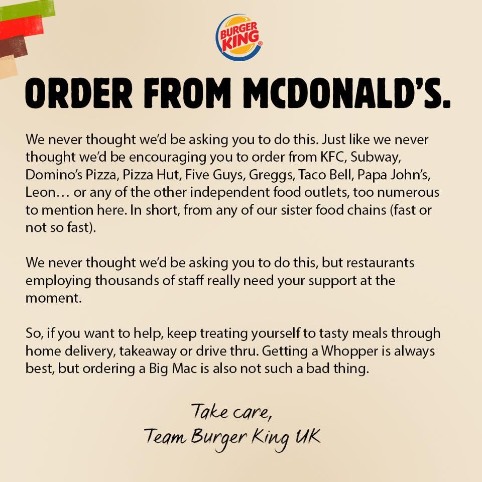 Arra kéri a Burger King az embereket, hogy menjenek a McDonald's-ba