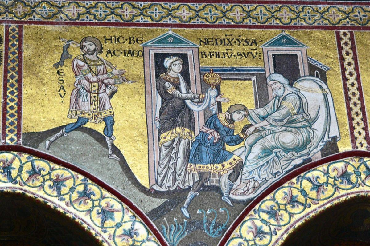 byzantine-mosaics-in-the-cathedral-of-monreale-jacob-steals-the-blessing-bdt6yg.jpg