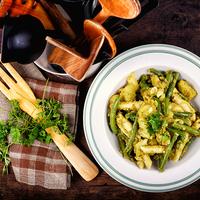 Pestos tészta zöldbabbal és krumplival