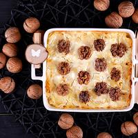 Laktóz-, és cukormentes almás, túrós, diós rakott tészta – lépésekben