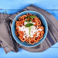 Babos, feta sajtos spagetti