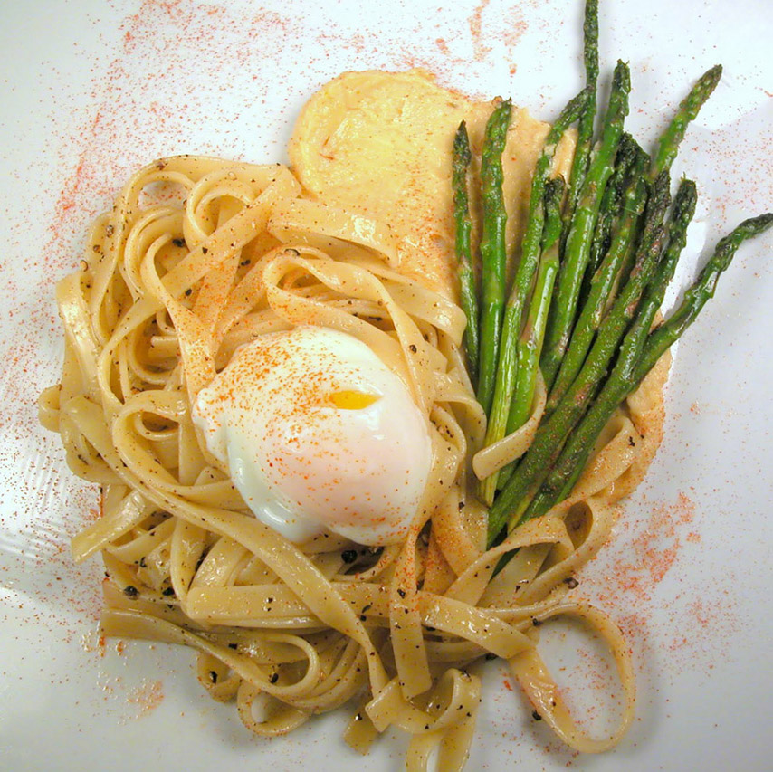 black pepper pasta with roasted asparagus, miso butter and poached egg.jpg