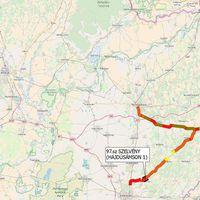 Lassújel térkép, a Mátészalka-Debrecen, Mátészalka-Nyíregyháza és Mátészalka-Záhony vasúti  viszonylatokról.