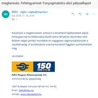 Lépésre szánta el magát a MÁV, decemberben kijavítják a krtikus állapotban lévő Fehérgyarmat-Tunyogmatolcs alsó vasúti szakaszt.