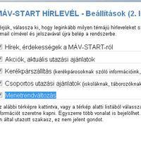 MÁV-Start hírlevél 2.0