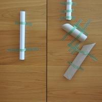 Golyó pálya -- papír hengerekből és dekor tapaszból