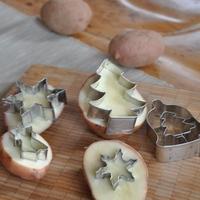 Krumpli nyomda karácsonyi mintával