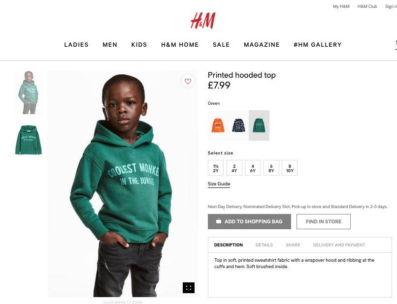 Elnézést kért a H&M a rasszista felirat miatt