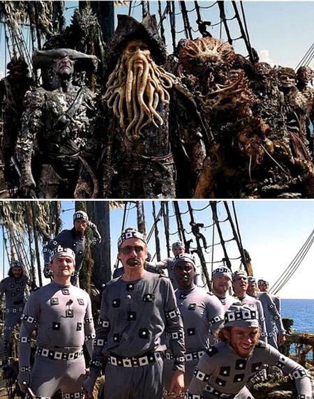 Davy Jones és bandája a Karib-tenger kalózai: Holtak kincse forgatásán.