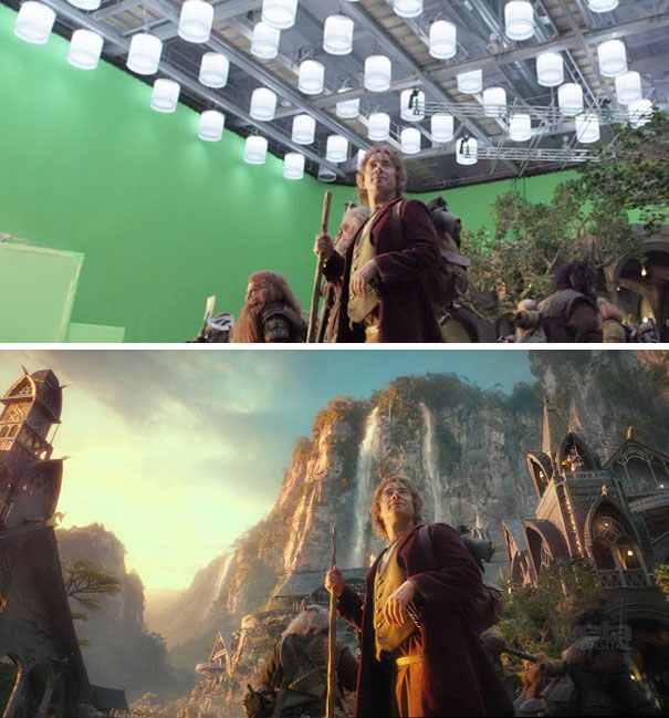 A hobbit forgatásán Martin Freeman is rácsodálkozott a sok greenboxra.